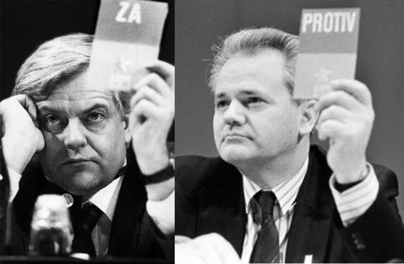Razlaz na 14. kongresu SFRJ: Milan Kučan i Slobodan Milošević